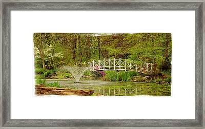 Sayen Gardens Bridge In Spring Hamilton New Jersey Framed Print