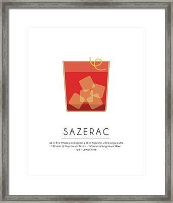 Sazerac Classic Cocktail Minimalist Print Framed Print