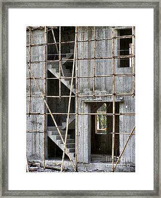 Scaffolds And Stairs Framed Print by Kathy Daxon