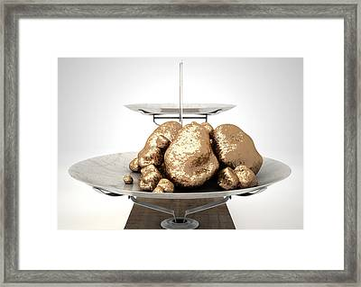 Scale And Gold Nuggets Framed Print