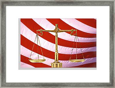 Scales Of Justice American Flag Framed Print by Panoramic Images