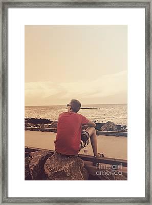 Scarborough Jetty Sunset Framed Print