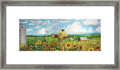 Scare Crow And Silo Farm Framed Print