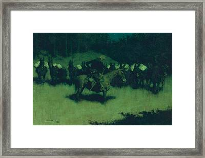 Scare In A Pack Train Framed Print by Frederic Remington