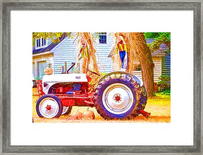Scarecrow And Pumpkins Framed Print by Lanjee Chee