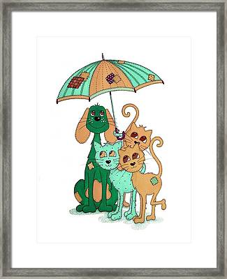 Scarecrow Dog Cats And Brolly Framed Print by Sandra Moore