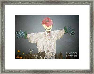 Scarecrow In Fog Framed Print by Diane E Berry