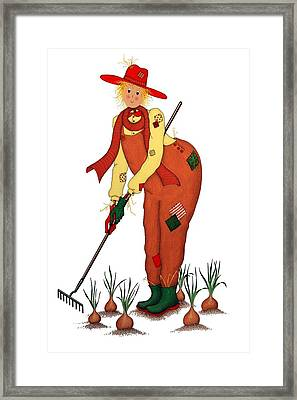 Scarecrow With Onions Framed Print by Sandra Moore