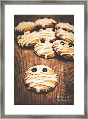 Scared Baking Mummy Biscuit Framed Print