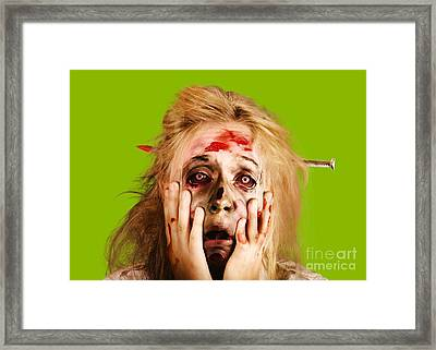 Scared Halloween Monster With Nail Through Head Framed Print