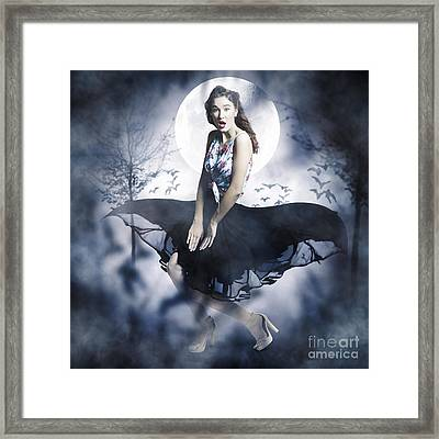 Scared Young Woman In Eerie Halloween Forest  Framed Print