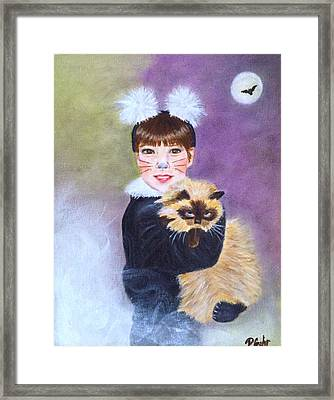 Scaredy Cat Hallows Eve Framed Print by Dr Pat Gehr