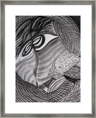 Framed Print featuring the drawing Scarf by Patricia Cleasby