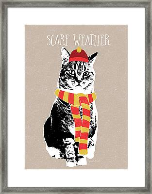 Scarf Weather Cat- Art By Linda Woods Framed Print by Linda Woods
