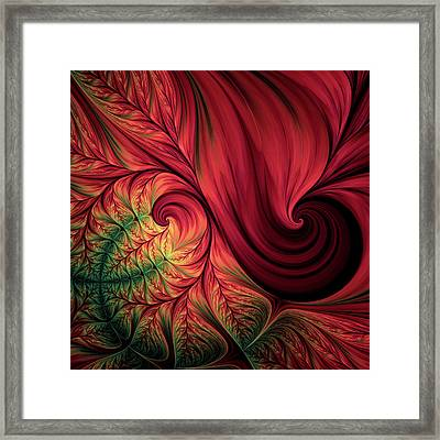 Scarlet Passion Abstract Framed Print by Georgiana Romanovna