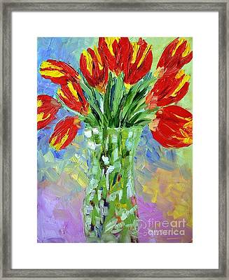 Scarlet Tulips Framed Print by Lynda Cookson