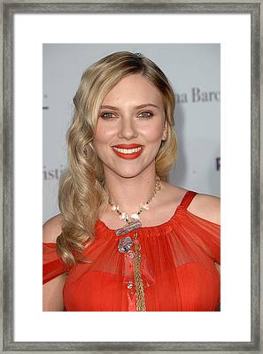 Scarlett Johansson Wearing A Sonia Framed Print by Everett