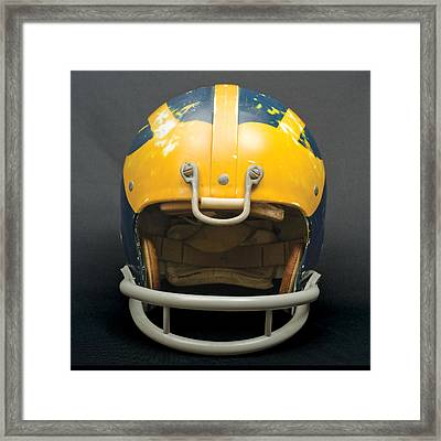 Framed Print featuring the photograph Scarred 1970s Wolverine Helmet by Michigan Helmet