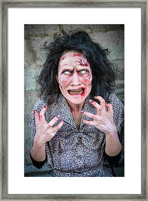 Scary Angry Zombie Woman Framed Print