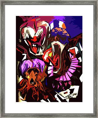 Scary Clowns Abstract Framed Print