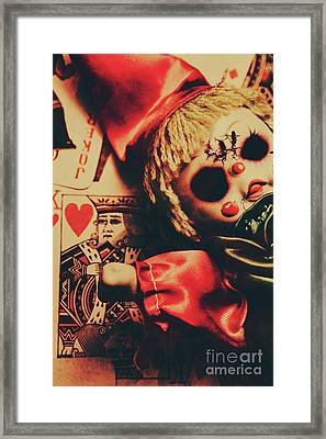 Scary Doll Dressed As Joker On Playing Card Framed Print