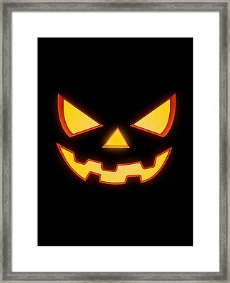 Scary Halloween Horror Pumpkin Face Framed Print by Philipp Rietz