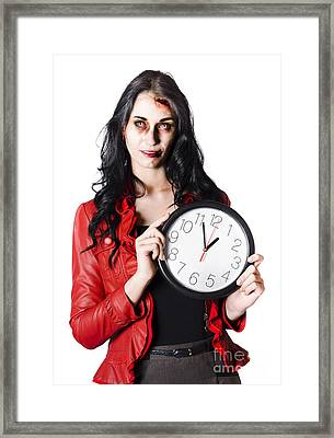 Scary Halloween Woman Holding Clock Framed Print