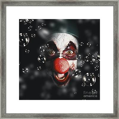 Scary Horror Circus Clown Laughing With Evil Smile Framed Print