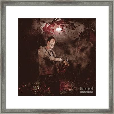 Scary Horror Man Slinging Bloody Chainsaw In Dark Framed Print by Jorgo Photography - Wall Art Gallery