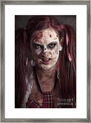 Scary Id Photo Of Female Zombie School Student Framed Print