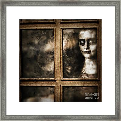 Scary Murderer Standing By The Window With Handgun Framed Print