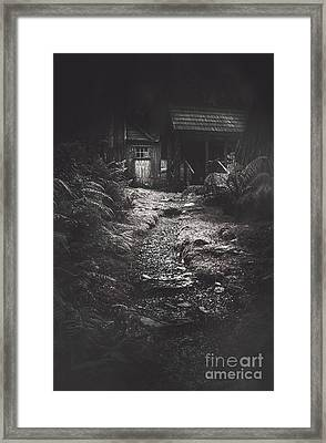 Scary Old Abandoned Hut In Creepy Deserted Forest Framed Print by Jorgo Photography - Wall Art Gallery