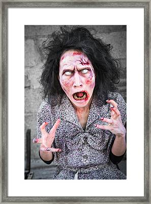 Scary Screaming Zombie Woman Framed Print by Matthias Hauser