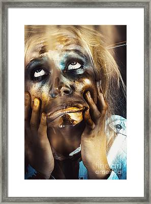 Scary Zombie Pulling Funny Face  Framed Print by Jorgo Photography - Wall Art Gallery