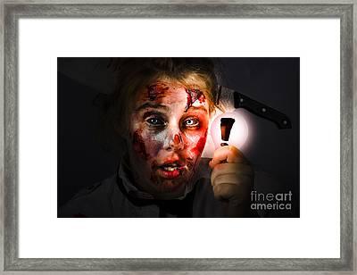 Scary Zombie With Halloween Idea Light Bulb Framed Print