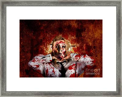 Scary Zombie Woman With Expression Of Shock Horror  Framed Print