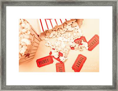 Scattered Box Of Popcorn Over Tickets Framed Print by Jorgo Photography - Wall Art Gallery