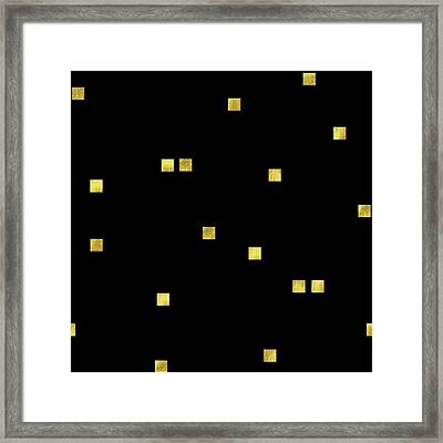Scattered Gold Square Confetti Gold Glitter Confetti On Black Framed Print