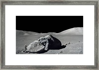 Scene From Apollo 17 Extravehicular Framed Print by Stocktrek Images