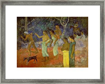 Scene From Tahitian Life Framed Print by Paul Gauguin