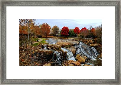 Scene From The Falls Park Bridge In Greenville, Sc Framed Print