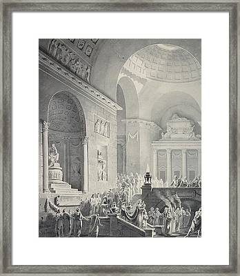Scene In A Classical Temple  Funeral Procession Of A Warrior Framed Print