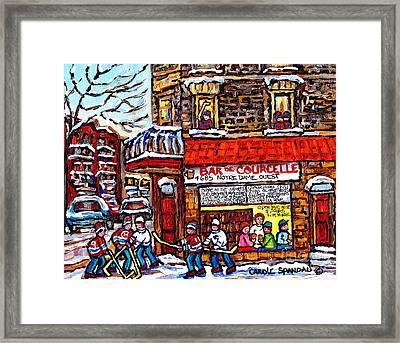 Scene Of Pointe St Charles Bar De Courcelle Montreal Winter Hockey Scene Canadian Art Carole Spandau Framed Print by Carole Spandau