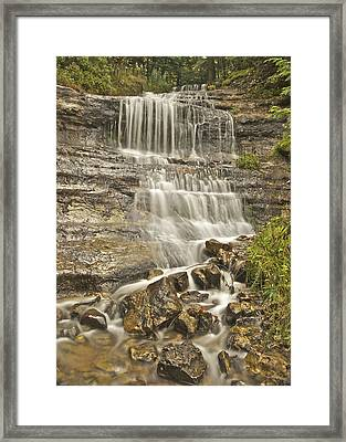 Scenic Alger Falls  Framed Print by Michael Peychich