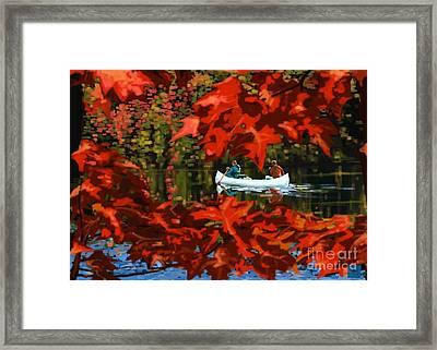Scenic Autumn Canoe  Framed Print