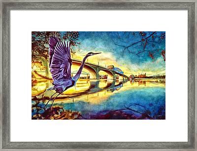 Scenic City Heron Framed Print by Steven Llorca