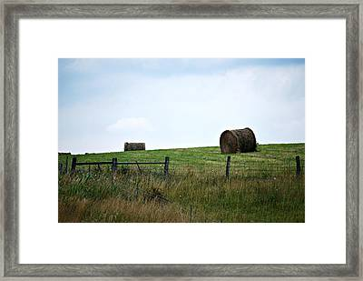 Scenic Haybales #1 Framed Print by Barbara Woodson