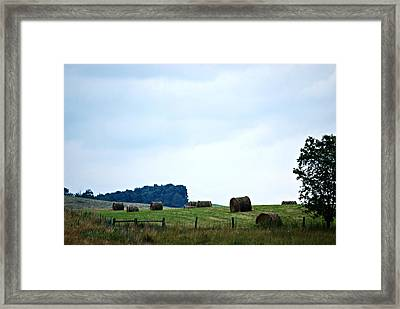 Scenic Haybales #2 Framed Print by Barbara Woodson
