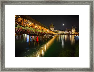 Scenic Night View Of The Chapel Bridge In Old Town Lucerne Framed Print by George Oze
