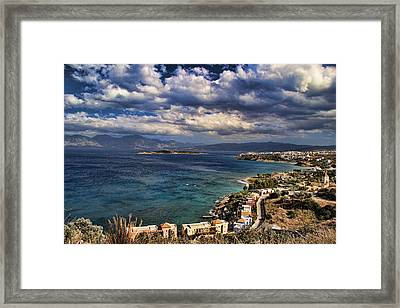 Scenic View Of Eastern Crete Framed Print